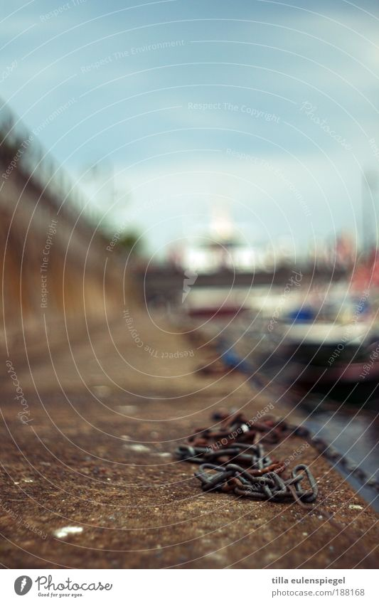 . Vacation & Travel Far-off places Cruise Navigation Chain Chain link Harbour Mole Baltic Sea Watercraft Depth of field Blur Colour photo Exterior shot
