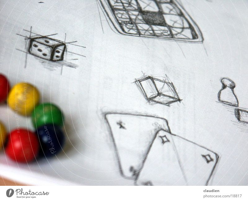 scribble Multicoloured Painting and drawing (object) Photographic technology Black & white photo Sphere food Drawing pencilled Dice