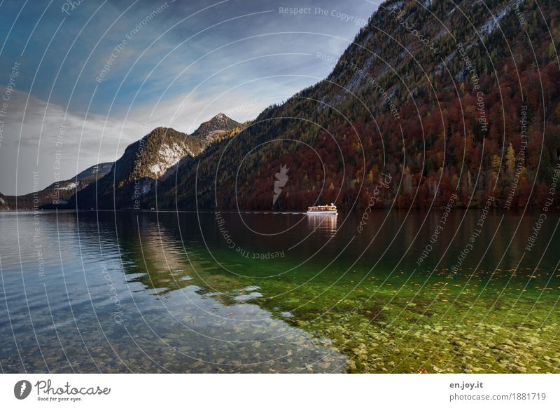 sea voyage Vacation & Travel Tourism Trip Adventure Far-off places Nature Landscape Sky Autumn Forest Mountain Lake Lake Königssee Navigation Boating trip Clean
