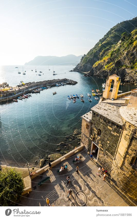 aperitivo time in vernazza Summer Coast Vernazza Italy Europe Village Fishing village Downtown Populated Facade Blue Gold Liguria Sunlight Sunset piazza