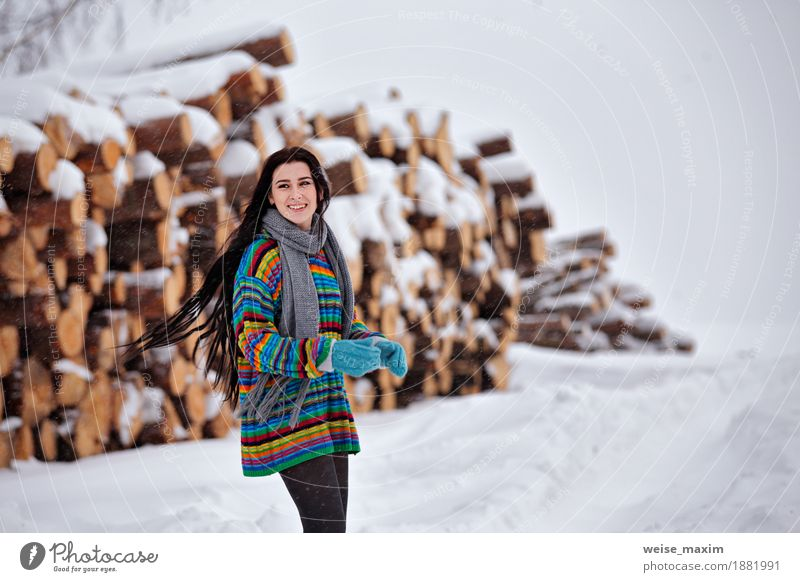 Beautiful young woman walking in winter outdoors. Wood logging Human being Woman Nature Youth (Young adults) Young woman White Tree Clouds Girl Winter