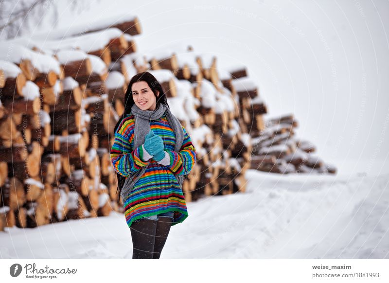 Beautiful young woman walking in winter outdoors. Wood logging Human being Woman Nature Youth (Young adults) Beautiful Young woman White Tree Clouds Winter 18 - 30 years Adults Meadow Snow Happy Copy Space