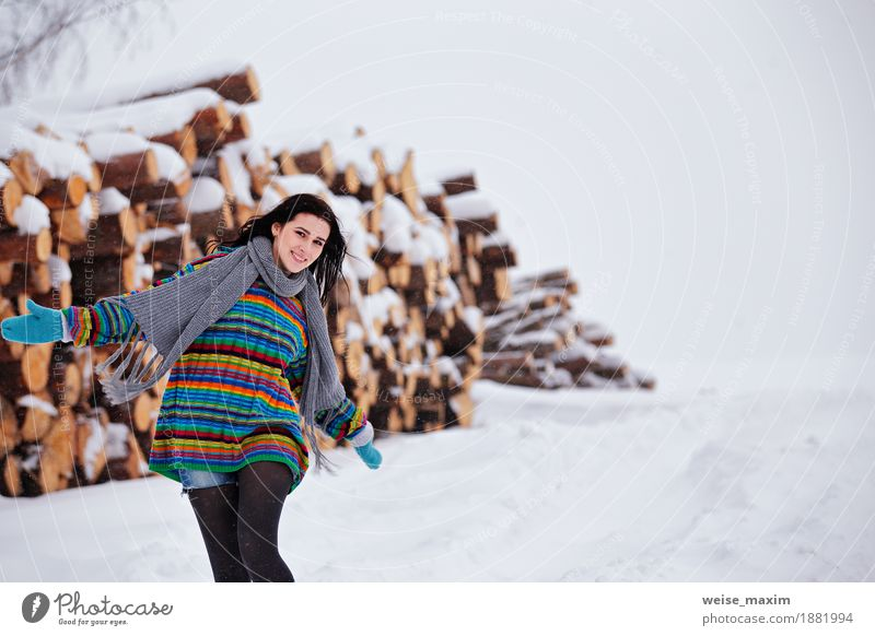 Beautiful young woman walking in winter outdoors. Wood logging Human being Woman Nature Youth (Young adults) Young woman White Tree Clouds Girl Far-off places