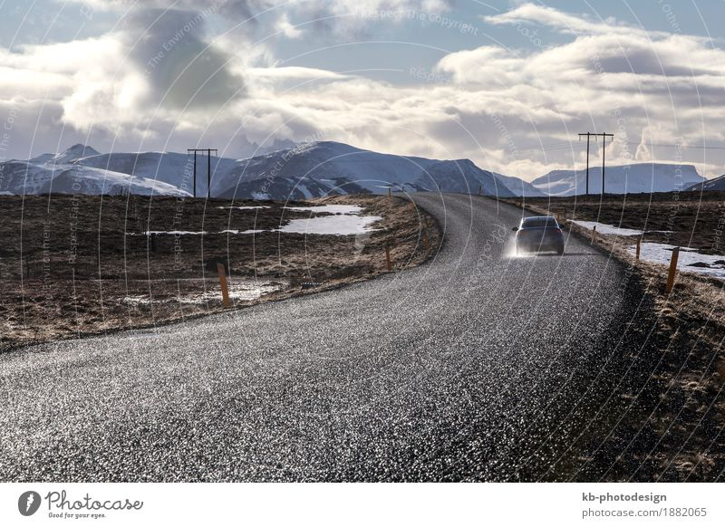 Vacation & Travel Landscape Far-off places Winter Mountain Tourism Hiking Adventure Asphalt Iceland Winter vacation
