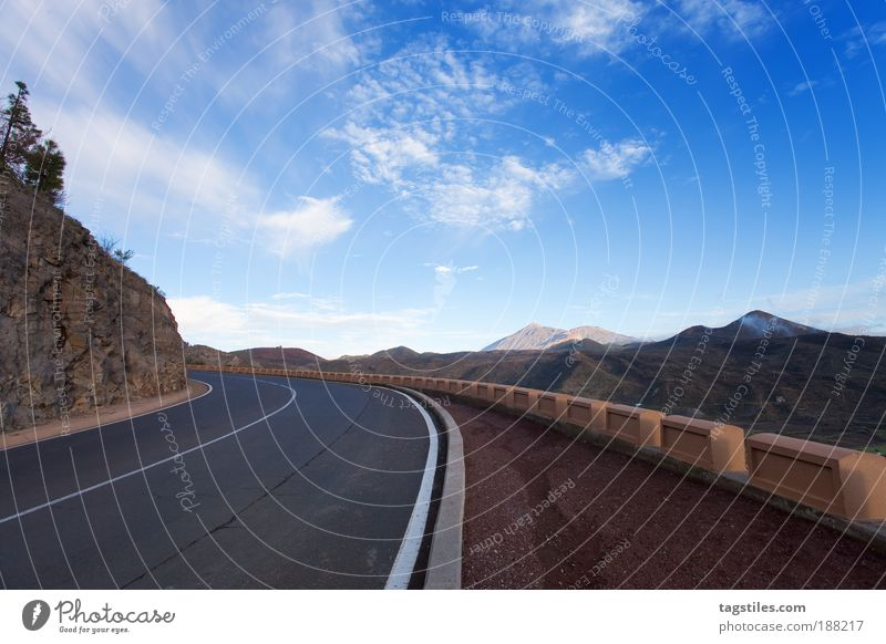 on the road again Street Vacation & Travel Travel photography Tenerife Mountain mountainous Pico del Teide National Park Curve High plain Island Blue Sky