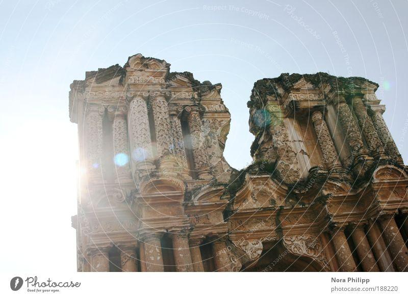 Sky Old Sun Vacation & Travel Architecture Religion and faith Building Esthetic Broken Church Illuminate Manmade structures Castle Column Ruin