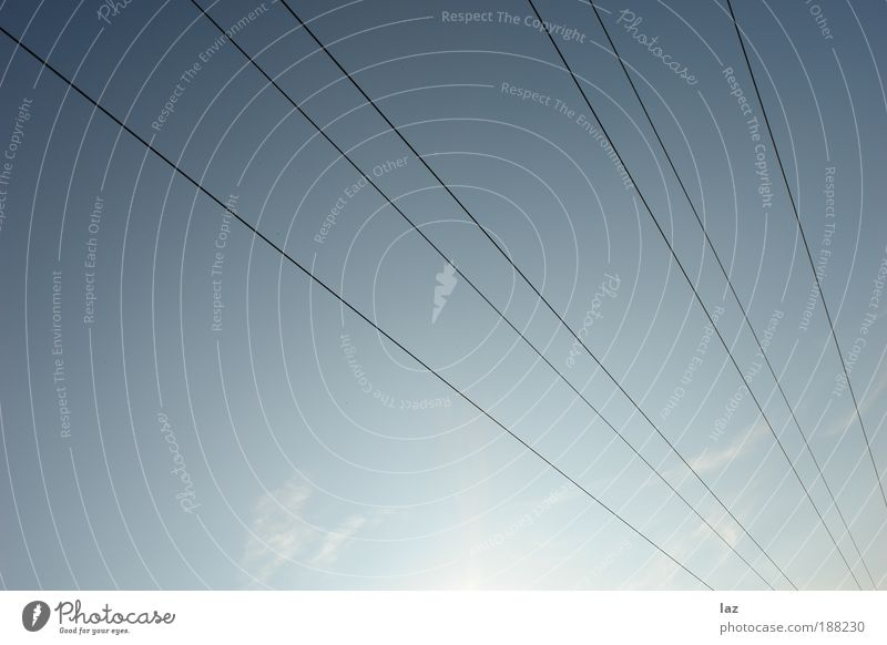 Lines In The Sky Life Relaxation Cable Environment Air Sky only Clouds Sun Climate Weather Beautiful weather Deserted Antenna Cable car Infinity Bright Clean