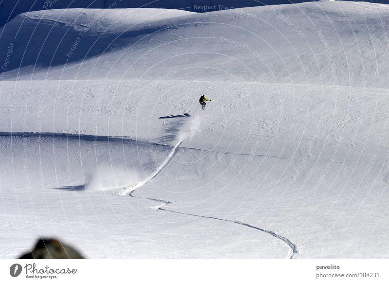 Winter Mountain Snow Beginning Hill Euphoria Curve Downward Snowscape First Winter sports Snowboarding Snow track Snowboarder Deep snow Ski-run