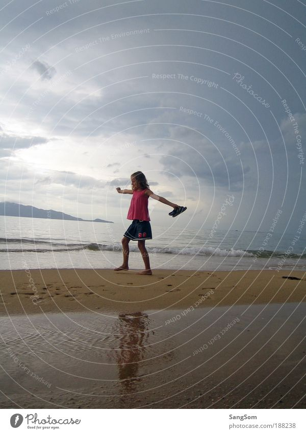 Human being Child Water Girl Sky Sun Ocean Summer Joy Beach Vacation & Travel Clouds Far-off places Freedom Happy Dream
