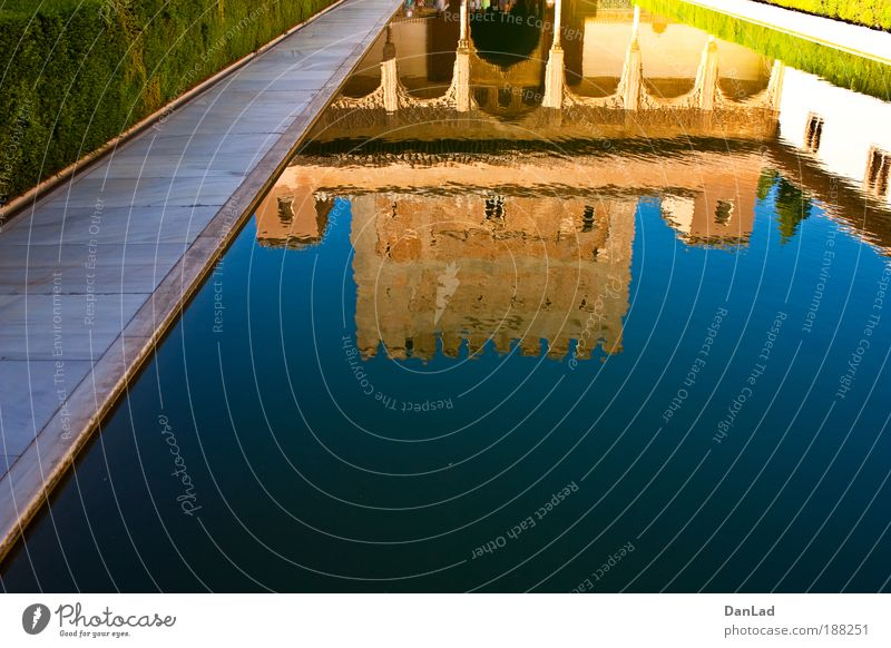 Alhambra Blue Beautiful Vacation & Travel Colour Wall (building) Garden Style Warmth Wall (barrier) Brown Roof Castle Tourist Attraction