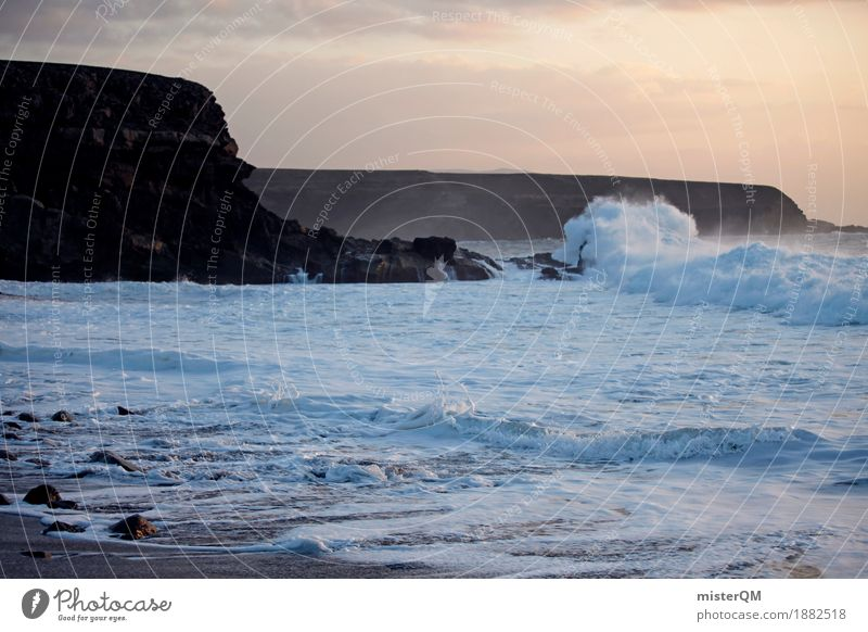 Ocean meets Coast II Art Esthetic Nature Elements Sea water Romp Bubbling Vacation photo Mountain Cliff Waves Swell Undulation Wave action Wavy line