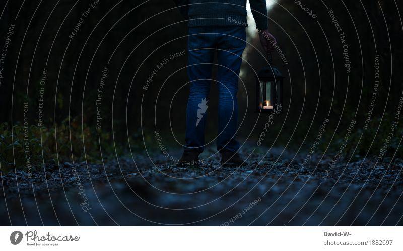 Man with a lantern stands in the dark Lantern off path Illuminate Lanes & trails Night Dark Light somber Stand forsake sb./sth. Creepy