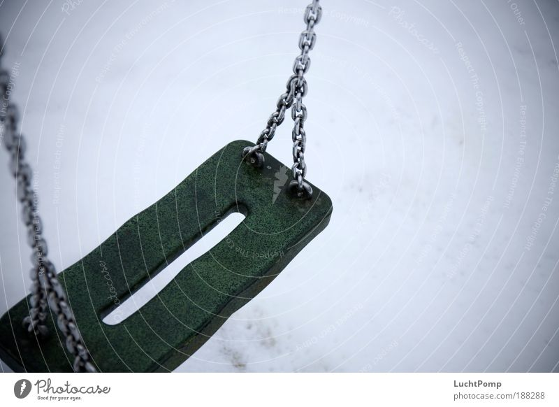 End of season. Playground Swing To swing Loneliness Winter Chain Rubber Cold Comfortless Sadness Playing Creepy Eerie Calm Snow Infancy Childhood memory Abuse