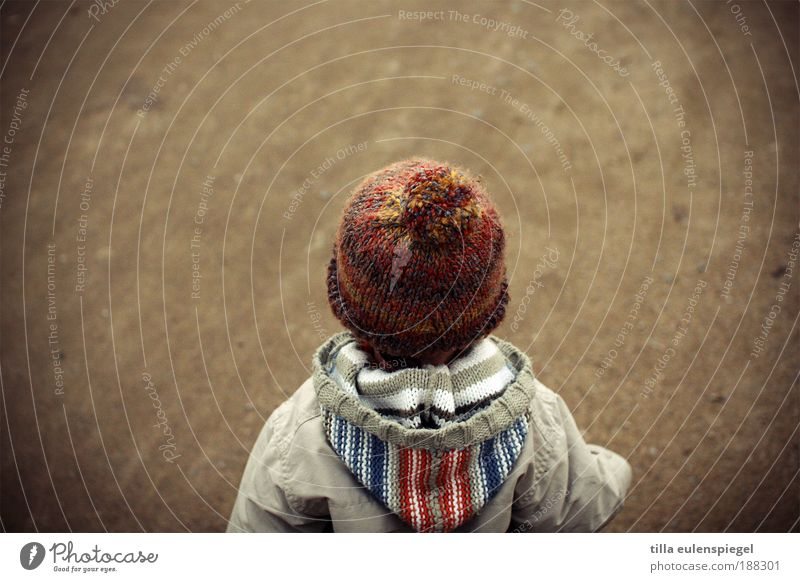 Human being Child Loneliness Small Infancy Wait Masculine Stand Future Cute Observe Curiosity Toddler Jacket Cap Expectation