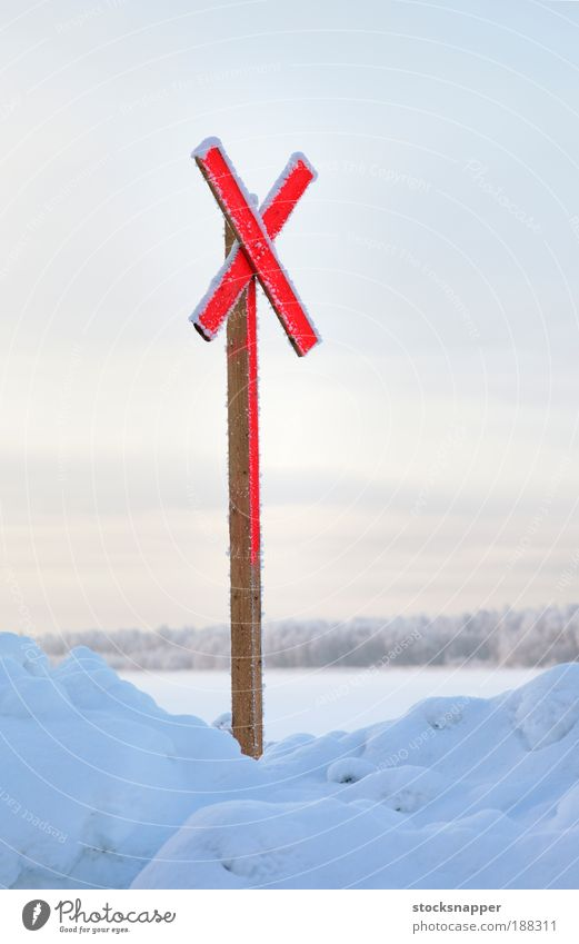 Winter Red Cold Snow Sign Mark Cross The Arctic