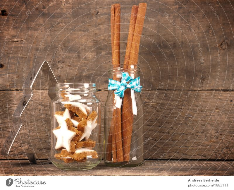 cinnamon stars Candy Bowl Christmas & Advent Delicious Sweet cookies Background picture wooden traditional food brown natural holiday concept space card sticks