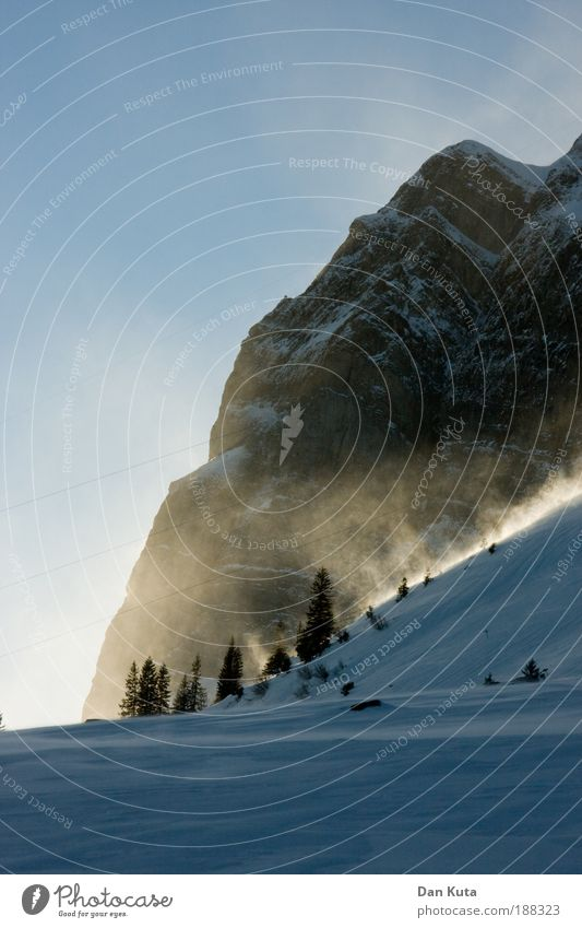The gold of the mountains Landscape Sky Cloudless sky Winter Climate Weather Beautiful weather Wind Gale Ice Frost Snow To enjoy Mount Säntis Switzerland