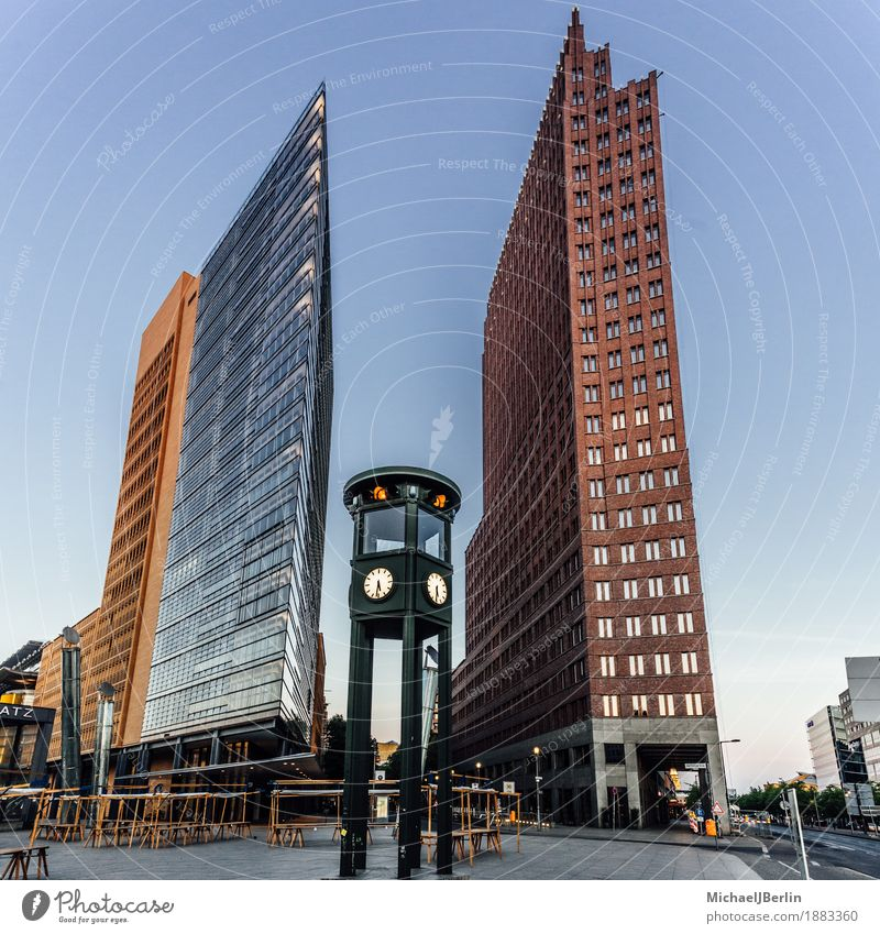 Traffic lights at Potsdamer Platz in Berlin Germany Old High-rise Transport Old fashioned New Modern Building Architecture Colour photo Exterior shot Dawn