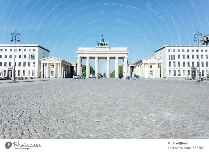 Brandenburg Gate in front of blue sky in the morning Berlin Germany Capital city Manmade structures Architecture Tourist Attraction Landmark Monument Gigantic