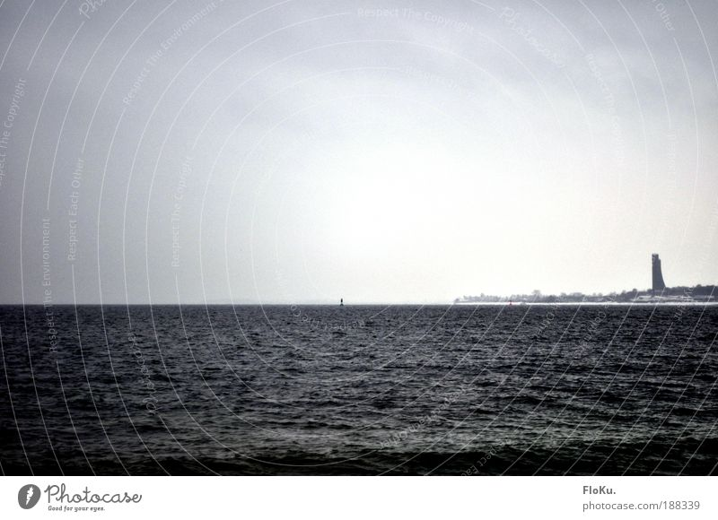 a winter sea (chen) Landscape Water Winter Bad weather Wind Fog Ice Frost Snow Waves Coast Bay Baltic Sea Ocean Monument Cold Gray Black White Calm