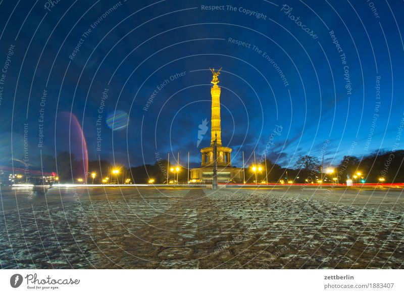 Victory Column at the Great Star Evening Lighting Berlin Dark else Goldelse victory statue big star Sky Crossroads Long exposure Tracer path light track