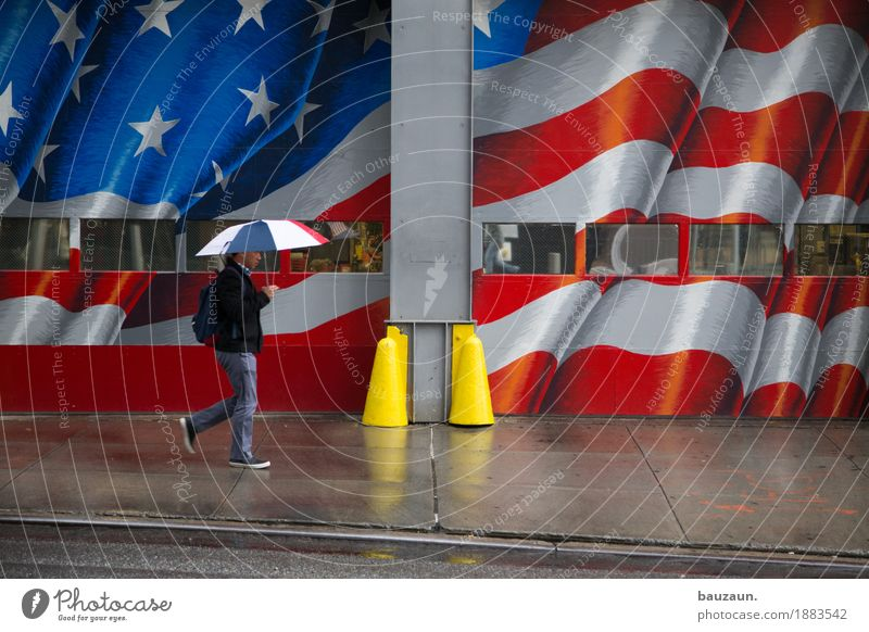 rain in nyc. Vacation & Travel Tourism Sightseeing City trip Man Adults Body 1 Human being Climate Weather Bad weather Rain New York City USA Transport