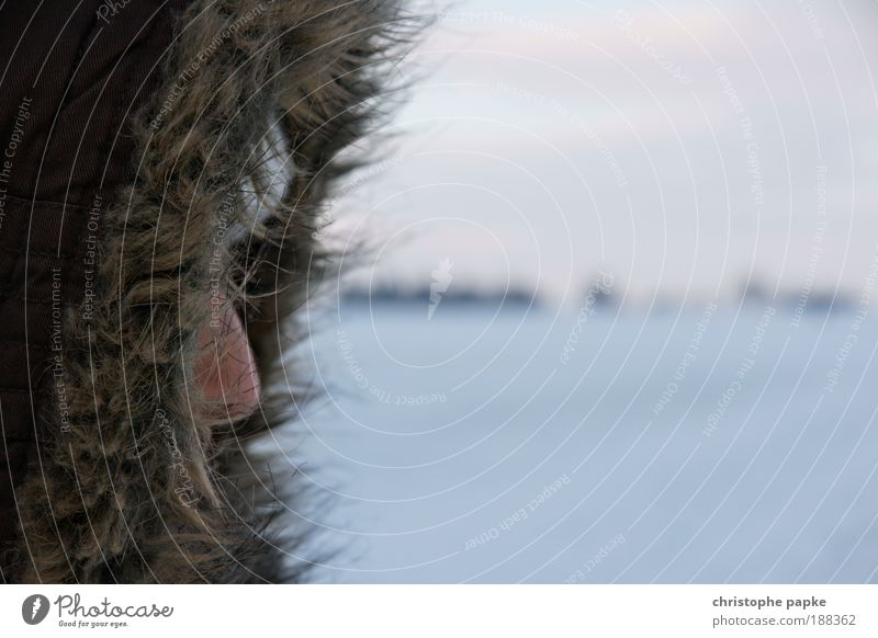 Hello Daisy. Far-off places Winter vacation Human being Head Face Nose 1 Bad weather Ice Frost Snow Pelt Cap Hooded (clothing) Freeze Cold Loneliness Siberia