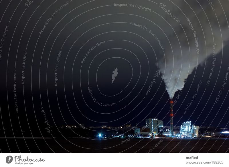 heating period Energy industry Coal power station Night sky Climate Climate change Ice Frost Industrial plant Blue Black Silver White heating plant Evening