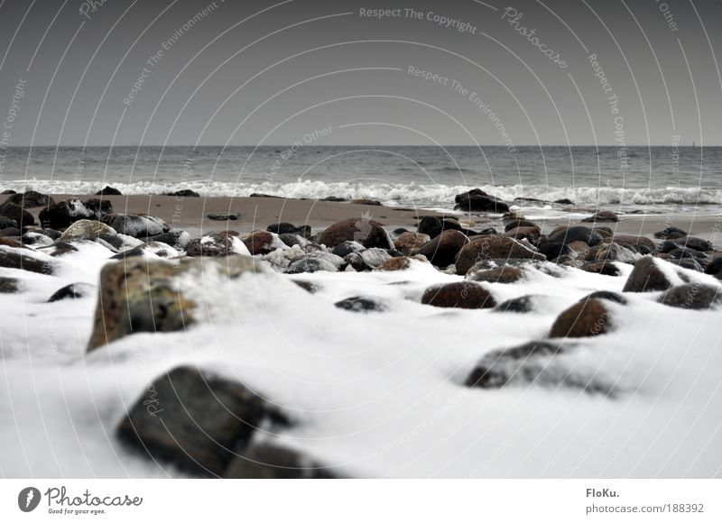 winter beach Environment Nature Landscape Elements Sand Water Winter Climate Bad weather Ice Frost Snow Waves Coast Beach Baltic Sea Dark Authentic Infinity