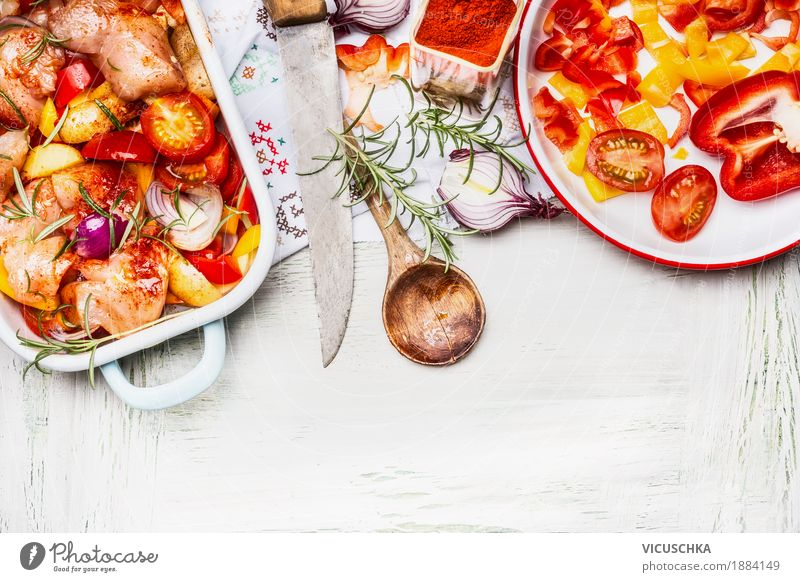 Mediterranean chicken with colourful vegetables and paprika powder Food Meat Vegetable Herbs and spices Cooking oil Nutrition Lunch Dinner Buffet Brunch Banquet