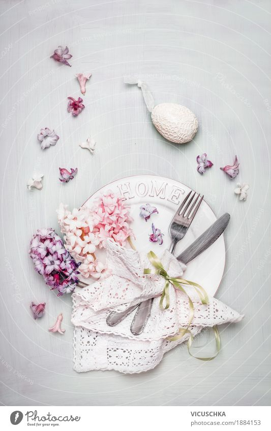 Easter table decoration in pastel colours Banquet Crockery Plate Cutlery Style Design Living or residing Interior design Decoration Event Restaurant