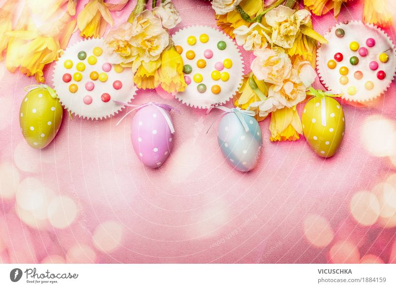 Easter in pastel colour with eggs, flowers and cake Style Design Joy Decoration Feasts & Celebrations Bouquet Tradition Easter egg Composing Egg Cake Flower