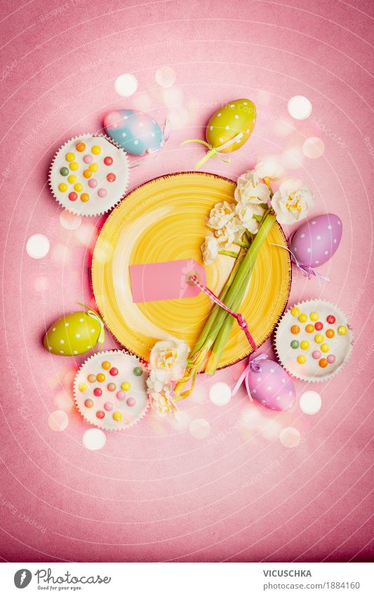 Flower Yellow Lifestyle Interior design Style Feasts & Celebrations Design Pink Nutrition Decoration Easter Restaurant Tradition Crockery Cake Egg