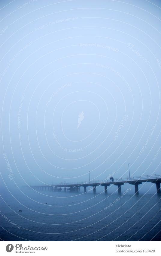 Ocean Blue Moody Coast Fog Footbridge Baltic Sea Column Bad weather Sea of fog Timmendorf beach