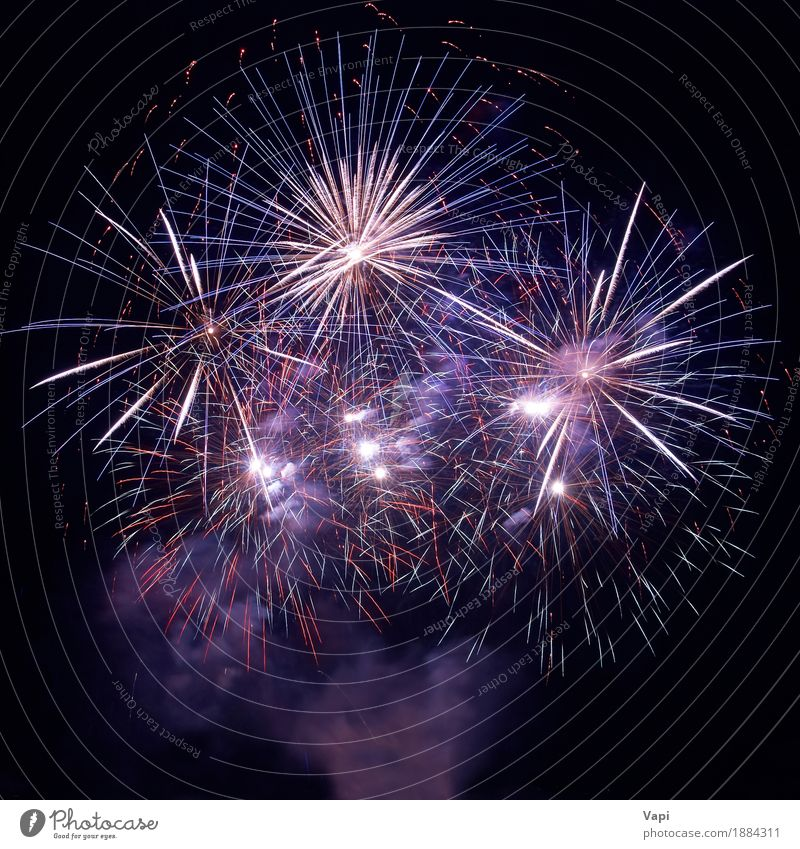 Beautiful fireworks on the black sky Sky Blue Christmas & Advent Colour White Red Joy Dark Black Yellow Art Freedom Feasts & Celebrations Party Orange Pink
