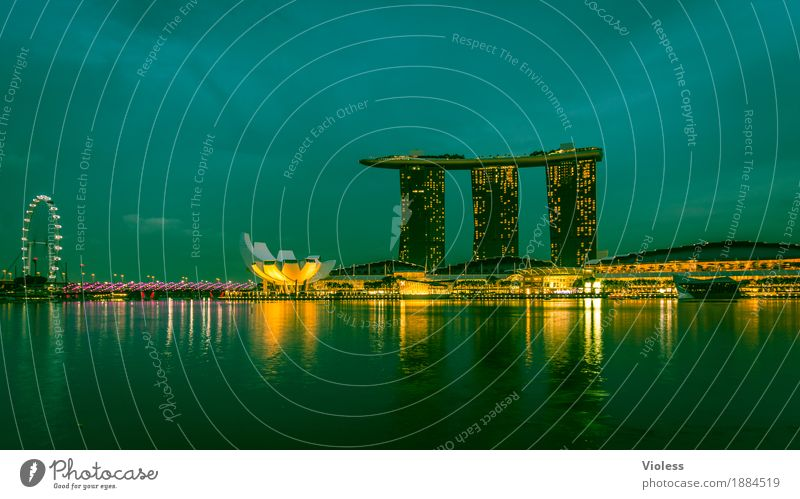 Singapore Capital city Skyline High-rise Hotel Tower Manmade structures Building Architecture Tourist Attraction Glittering Lighting Illuminate Lamp Kitsch