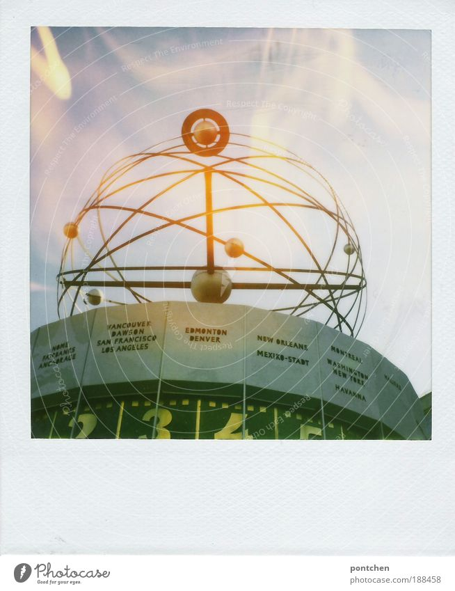 Polaroid shows the world time clock in berlin. Vacation & Travel Tourism Trip Sightseeing City trip Tourist Attraction Art Artist Capital city Downtown