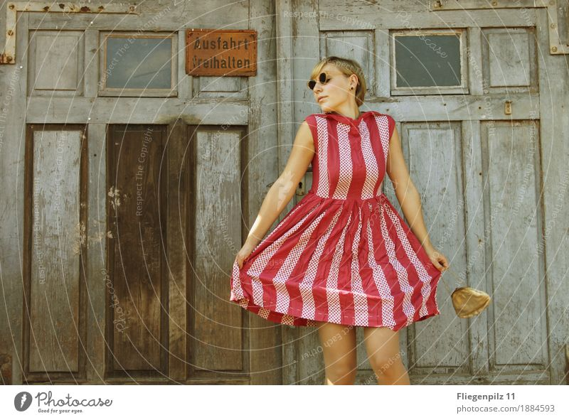 retro stylish young woman posing in front of an old wooden gate. striped dress Lifestyle Elegant Style pretty Feminine Young woman Youth (Young adults) Woman