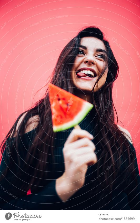 Young happy women enjoying watermelon Youth (Young adults) Summer Beautiful Young woman Healthy Eating Red Joy 18 - 30 years Adults Emotions Lifestyle Natural Feminine Laughter Food Moody
