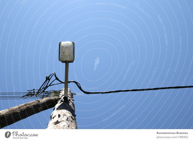 Sky Old Blue Summer Lighting Energy Electricity Cable Simple Beautiful weather Lantern Street lighting Stagnating Wooden stake Lamp post