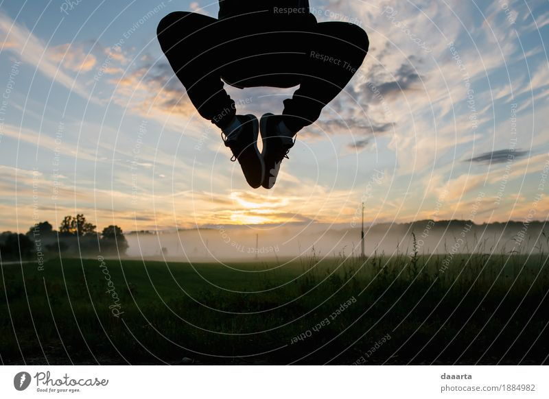 Jump sunset Sky Nature Vacation & Travel Summer Landscape Clouds Joy Life Lifestyle Grass Style Freedom Feasts & Celebrations Moody Jump Fog
