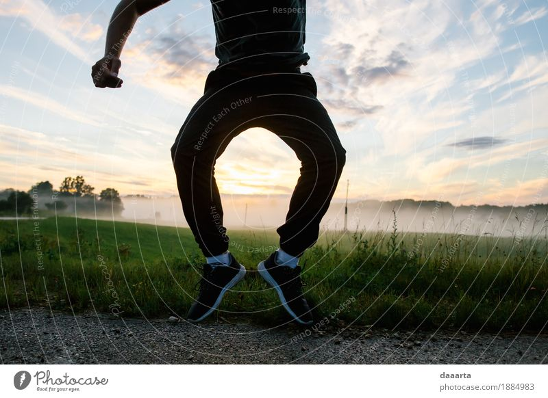 jump in sunset Nature Summer Joy Environment Life Lifestyle Grass Style Playing Freedom Feasts & Celebrations Jump Wild Leisure and hobbies Park Masculine