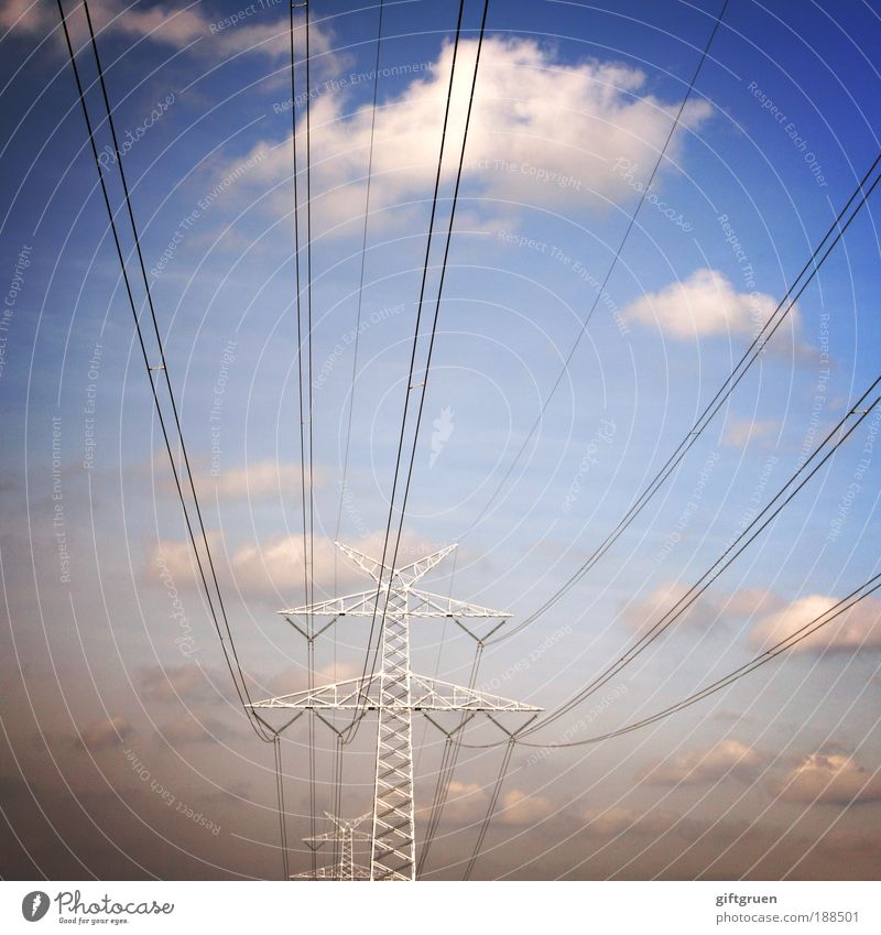 Long line Energy industry Technology Energy crisis Sky Clouds Electricity Energized Electricity pylon Electrical wire Power consumption Colour photo
