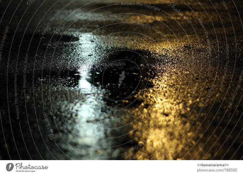 those rainy days Concrete Water Puddle Mirror image Street Curbstone Alley Night Dark Damp Dangerous Light Glittering Ground Wet Rain Drop Yellow Bright