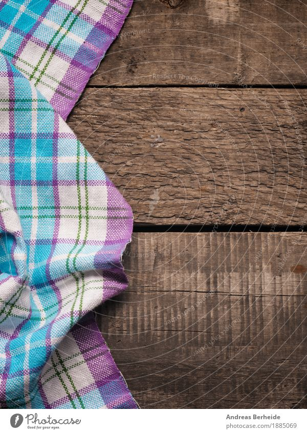 Plaid tea towel on a wooden table Wood Old Retro cloth picnic Background picture tablecloth textile checkered white pattern texture blank kitchen surface