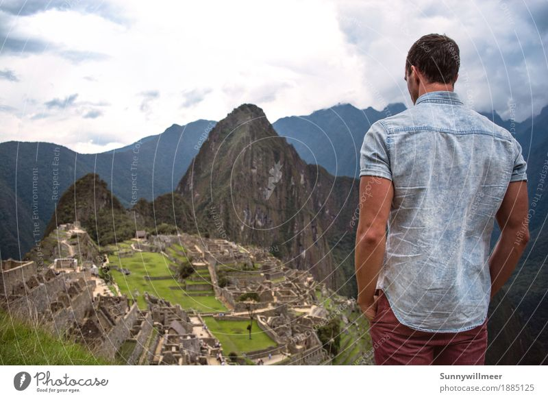 Machu Picchu Human being Masculine Man Adults Body 1 18 - 30 years Youth (Young adults) Culture Environment Nature Landscape Mountain Famousness Tall Beautiful
