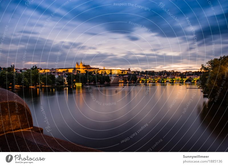 blue hour in prague Leisure and hobbies Vacation & Travel Tourism Trip Sightseeing City trip Summer River Prague Europe Town Capital city Downtown Old town