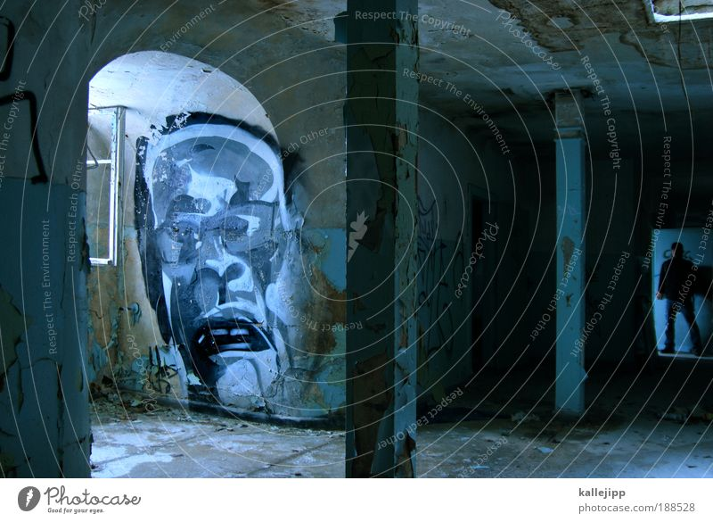 user meeting Human being Man Adults Head Face 2 Wall (barrier) Wall (building) Window Door Stand Graffiti Creepy Hallway Corridor Column Room Arch Colour photo