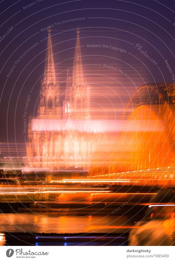 Long-term exposure of the Cologne Cathedral in the evening, blue sky. Hohenzollern bridge and Rhine Culture Landscape Town Capital city Port City Downtown