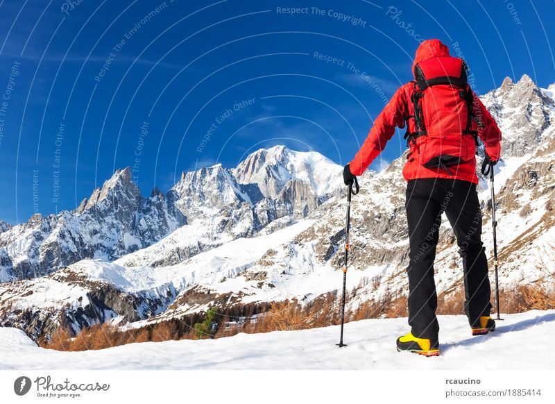 Hiker takes a rest looking at Mont Blanc, Courmayer, Italy. Human being Nature Vacation & Travel Man Blue Colour Beautiful White Landscape Red Loneliness Winter